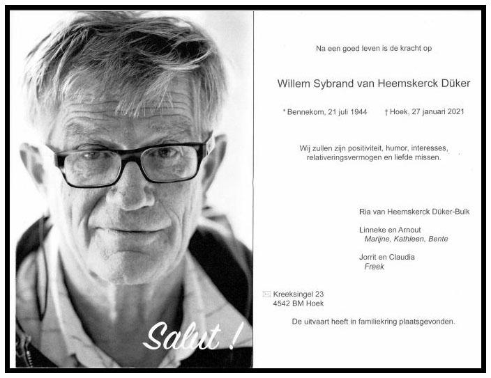 rouwbericht Willem gekaderd